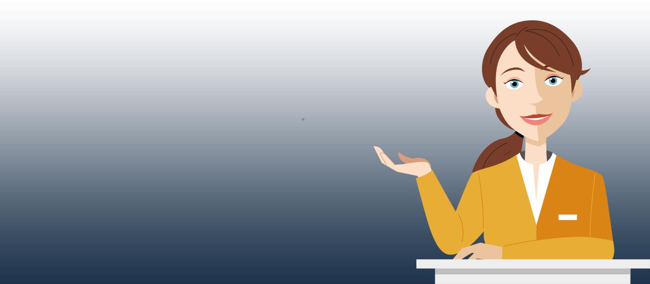 Grafik Chatbot Linda: Frau im gelben Kostüm nimmt eine Frage auf